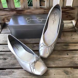 NIB Jessica Simpson Silver Metallic Ballet Flats 9